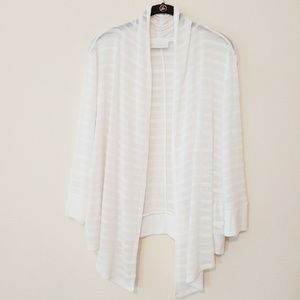 New York & Company White Open Front Cardigan